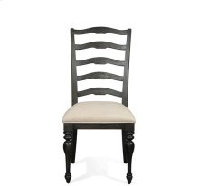 Cassidy Upholstered Ladderback Side Chair Charred Oak finish