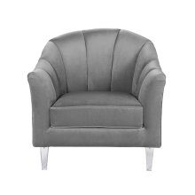 Channel Back Lounge Chair In Grey Velvet