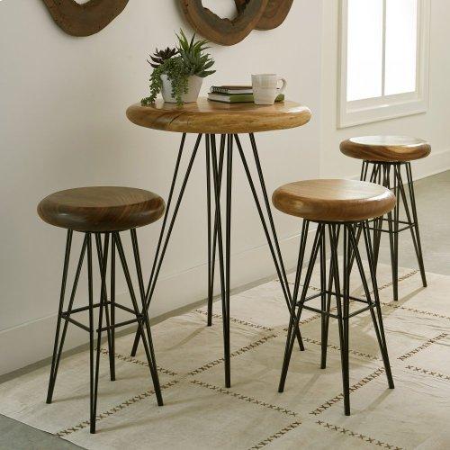 Chamcha Wood Bar Table, Four Metal Legs