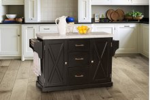 Brigham Kitchen Island In Black With Granite Top