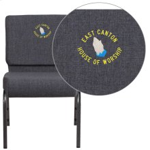 Embroidered HERCULES Series 21'' Wide Dark Gray Fabric Stacking Church Chair with 4'' Thick Seat - Silver Vein Frame