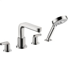Chrome 4-Hole Roman Tub Set Trim with Lever Handles and 2.0 GPM Handshower
