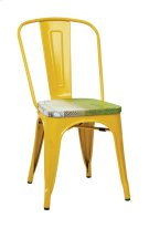 Bristow Metal Chair With Vintage Wood Seat, Yellow Finish Frame & Pine Alice Finish Seat, 4 Pack Product Image