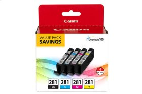 Canon CLI-281 Black, Cyan, Magenta & Yellow 4 Ink Pack CLI-281 BKCMY 4 Value Pack