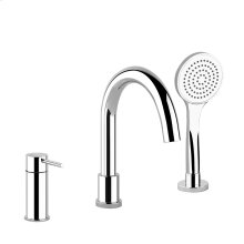 Three-hole bath mixer with diverter in the spout, 1,50 m flexible hose and pull-out antilimestone handshower