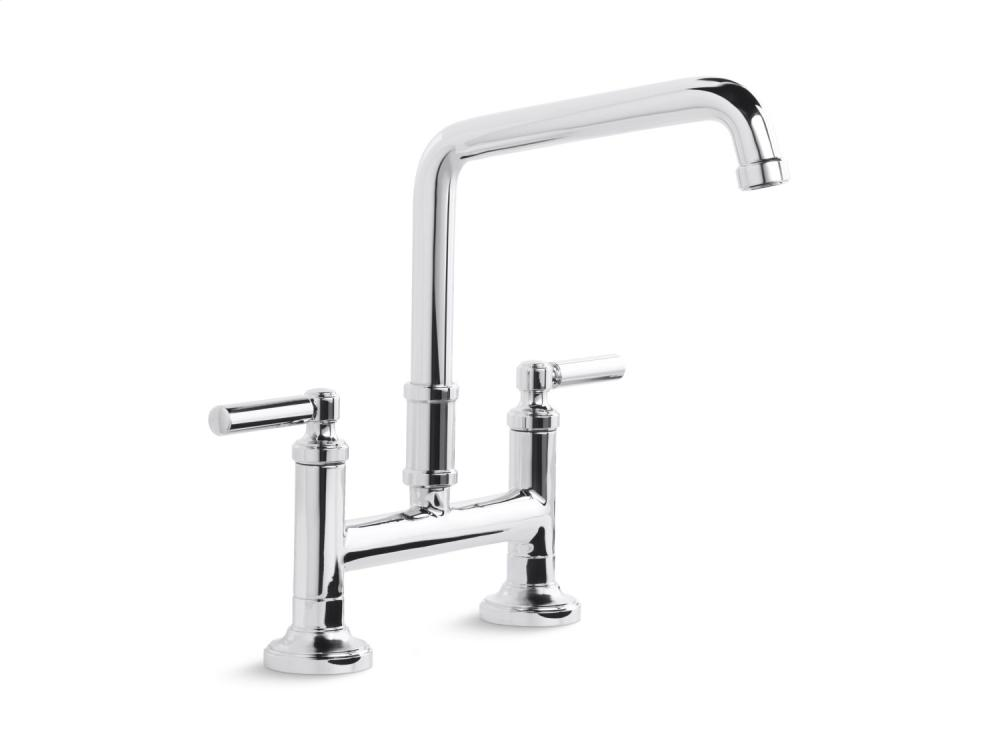 Deck-Mount Bridge Faucet, Lever Handles - Chrome