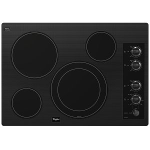 "WhirlpoolGold(R) 30-inch Electric Ceramic Glass Cooktop with 12""/9"" Dual Radiant Element"