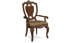 Old World Shield Back Arm Chair Fabric Seat