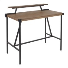 Gia Counter Table - Black Metal, Brown Bamboo