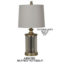 "29""TH GLASS LAMP, HB ATMEAL LINEN 10X11X9"". 2PK 2.08'"