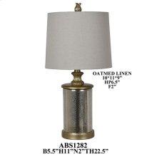 "29""TH GLASS LAMP, HB ATMEAL LINEN 10X11X9"". 2PK 2.08'"