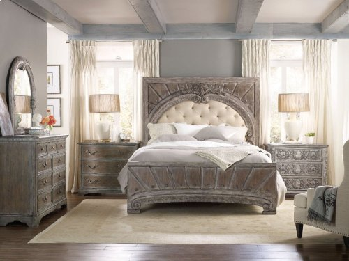 True Vintage California King Upholstered Panel Bed