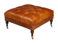 Square Tufted Ottoman with Ferrules & Casters