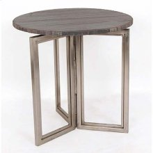 Bengal Manor Solid Iron Accent Table in Nickel Finish w/ Rough Grey Marble Top