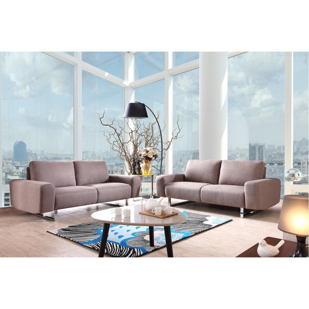Divani Casa Municipal Contemporary Grey Fabric Sofa Set