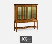 Country Walnut Glazed Display Double Cabinet