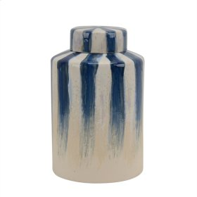 "Ceramic 13.5"" Covered Jar, Blue/white Stripe"
