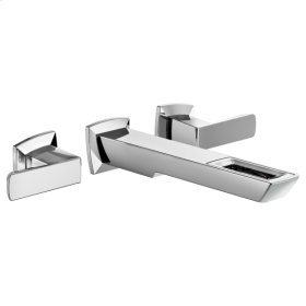 Two-handle Wall Mount Lavatory Faucet With Open-flow Spout