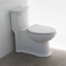 Floor-standing elongated one-piece porcelain toilet with siphonic single flush system (1.28 gpf), includes a seat cover and tank