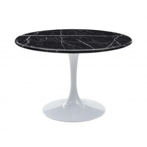 Steve Silver Co.Colfax 45 inch Round Black Marquina Marble Top/White Base Dining Table