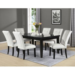 Steve Silver Co.Markina 7 Piece Rectangular Black Marble Top Set(Table & 6 Side Chairs)