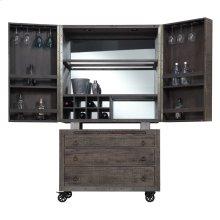 Bar Cabinet Top & Base W/castors-reclaimed Pine Finish-set Up