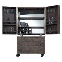 Bar Cabinet Top & Base W/castors-reclaimed Pine Finish-set Up Product Image