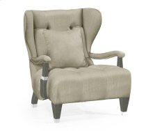 Modern Winged Pewter Oak Occasional Chair, Upholstered in MAZO