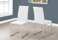 """DINING CHAIR - 2PCS / 38""""H / WHITE LEATHER-LOOK / CHROME"""
