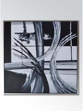 Art Canvas With Silver Frame - Black and White