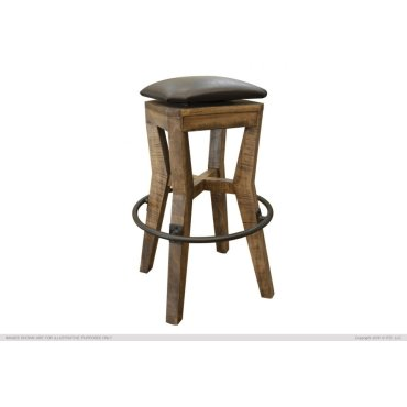 """30"""" Height Wooden Stool w/ faux leather"""