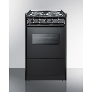 "Summit20"" Wide Slide-in Electric Range In Black With Oven Window, Light, and Lower Storage Compartment; Replaces Tem115rw/tem110cwrt"