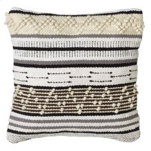 Hand Woven Grey & Ecru Striped Pillow (Each One Will Vary).