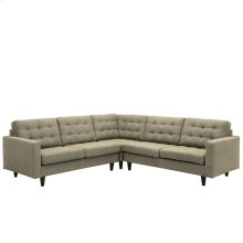 Empress 3 Piece Upholstered Fabric Sectional Sofa Set in Oatmeal
