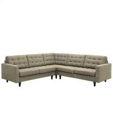 Empress 3 Piece Upholstered Fabric Sectional Sofa Set in Oatmeal Product Image