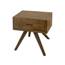 Teak Patio Side Table With Storage In Burnt Umber