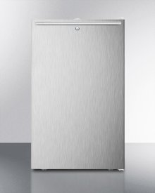"Commercially Listed ADA Compliant 20"" Wide Counter Height All-refrigerator, Auto Defrost With A Lock, Stainless Steel Door, Horizontal Handle, and White Cabinet"