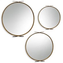 Round Gold Metal Mirror Set  Large 35in X 37in Medium 30in X 33in Small 24in X 26in  Wall Mirr