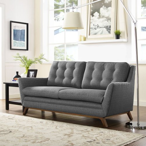 Beguile Upholstered Fabric Loveseat in Gray