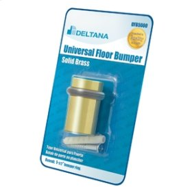 """Universal Floor Bumper Blister Pack 2"""", Solid Brass - Polished Brass"""