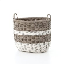 Vintage Grey-white Stripes Basket