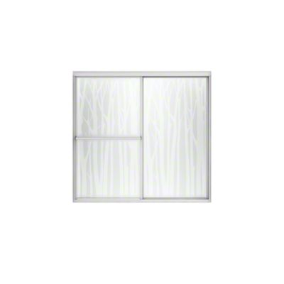 "Deluxe Sliding Bath Door - Height 56-1/4"", Max. Opening 59-3/8"" - Silver with Birchwood Glass Pattern"