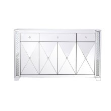 """With 4 doors in bold criss-cross symmetry, measuring W60""""xD14""""xH36, this modern credenza can decorate any dining room or narrow hallway and still yield plenty of storage space. With the gleaming beveled mirror surfaces and crushed diamond-like clear crystal inlay border, it opens up the visual space in the room while imbuing it with glamour. The […]"""