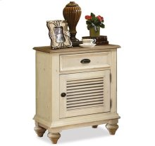 Coventry Shutter Door Nightstand Weathered Driftwood/Dover White finish
