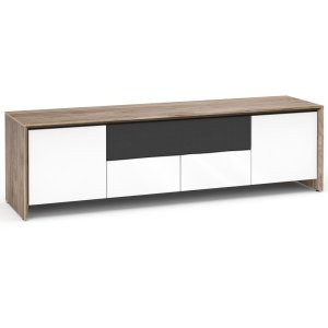 Salamander DesignsBarceloan 245, Quad-Width AV Cabinet, Natural Walnut with White Gloss Doors