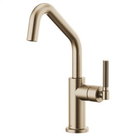 Bar Faucet With Angled Spout and Knurled Handle