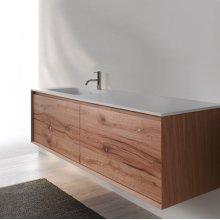 "45° FULL series 1400 vanity, White Matte frame/Vintage Oak front; 55"" w x 19"" h x 20"" d"