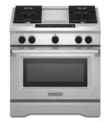 KitchenAid® 36-Inch 4-Burner with Griddle, Dual Fuel Freestanding Range, Commercial-Style - Stainless Steel