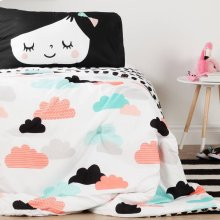 Night Garden Comforter and Pillowcase - Black and White