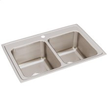 "Elkay Lustertone Classic Stainless Steel 33"" x 22"" x 12-1/8"", Equal Double Bowl Drop-in Sink"